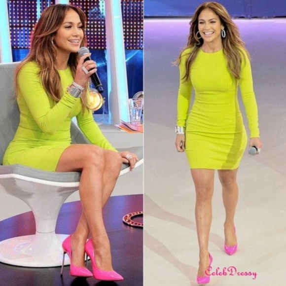 House of CB Dresses & Skirts - CARLY' LIME GREEN LONG SLEEVE BANDAGE DRESS